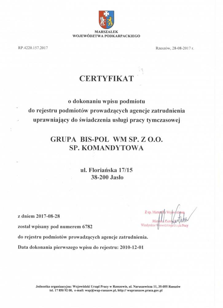 polish certificate