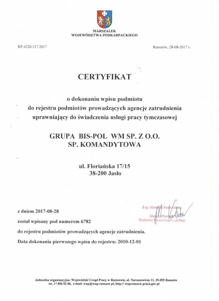 polish certificate Certificat polonais - Voïvodie de Podkarpackie